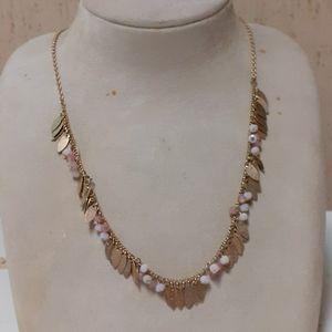 Bead and leaf tassle necklace